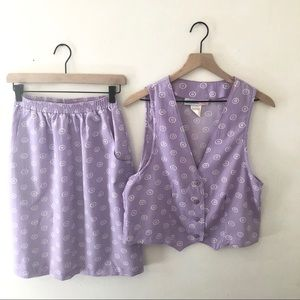 VINTAGE Lavender Circle Pattern Skirt Set